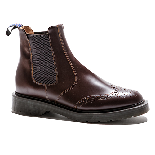 Brogue Chelsea/Dealer Boot With Elastic Sides(NUT)