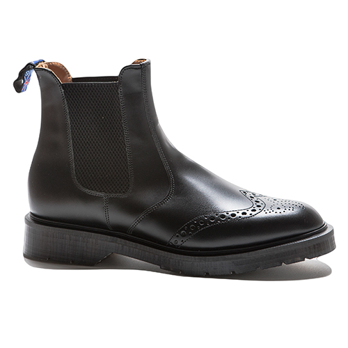 Brogue Chelsea/Dealer Boot With Elastic Sides(BLK)