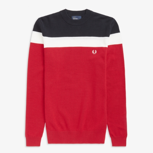 [Authentic_Colour Block] Colour Block Crew Neck Sweater(401)