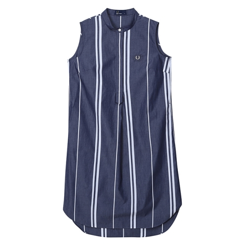 [Japan Collection] Stripe Sleeveless Shirt Dress(J01)