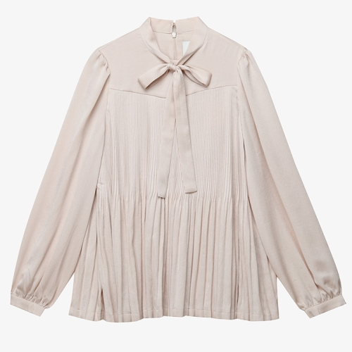 Pleats Bow Blouse (IVR)