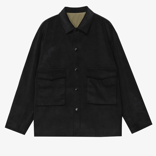 Reversible Cord Utility Jacket (BLK)