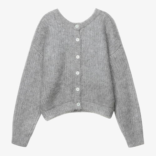 Brushed 2-Way Knit Cardigan (GRY)