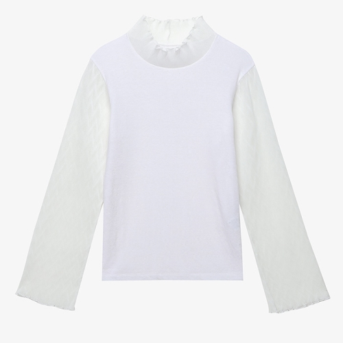Wave-Pleats See-Through Top (WHT)