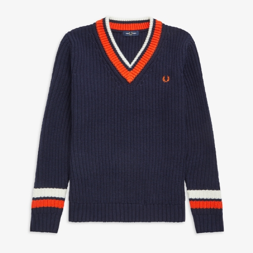 [Authentic] Bold Tipped V Neck Sweater(608)