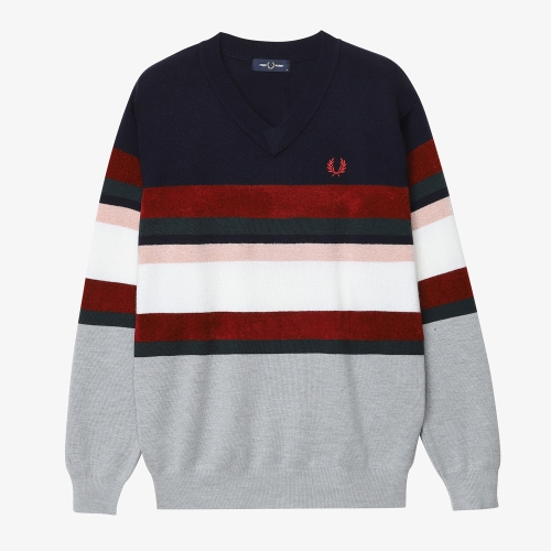 [Japan Collection] Border V Neck Knit Sweater(J01)