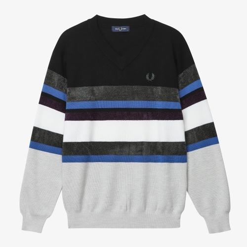 [Japan Collection] Border V Neck Knit Sweater(J07)