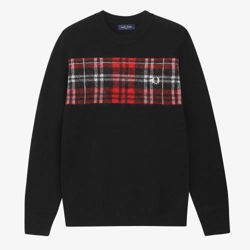 [Authentic] Tartan Panel Crew Neck Sweater(102)