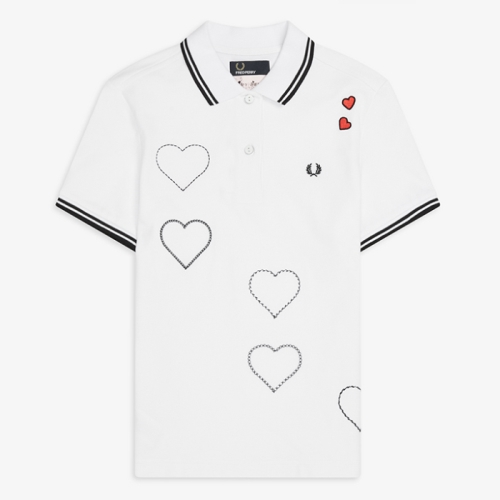 [Amy Winehouse] Amy Embroidered Heart Pique Shirt(100)
