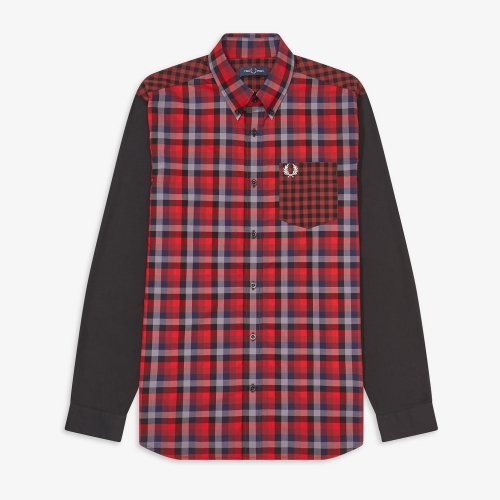 [Authentic] Contrast Check Shirt(122)