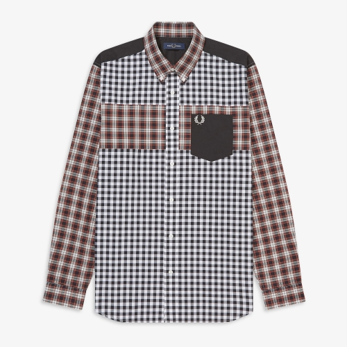 [Authentic] Contrast Check Panel Shirt(122)