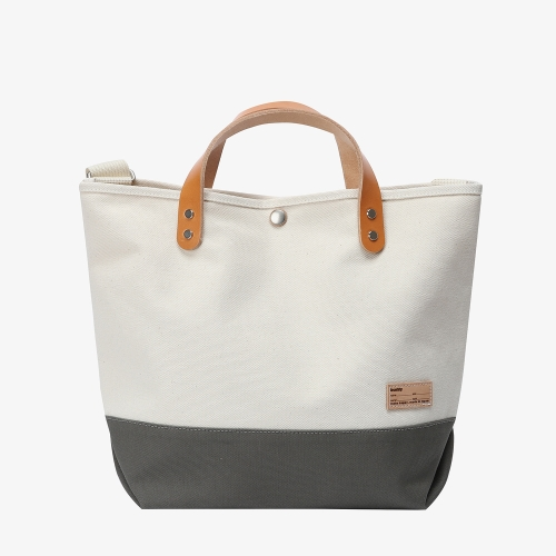 Collar Leather Tote (GRY)