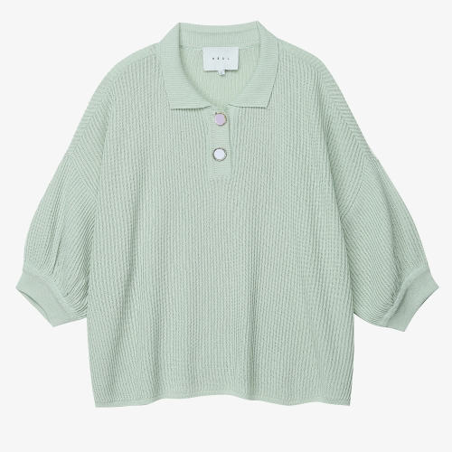 Button Detail Pullover Knit (GRN)