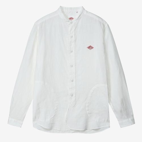 Band Collar LS Shirts Linen (WHT)