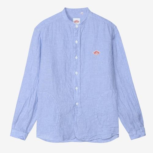Band Collar LS Shirts Linen (BLU)