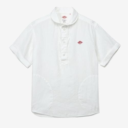 Round Collar SS Shirts Linen (WHT)