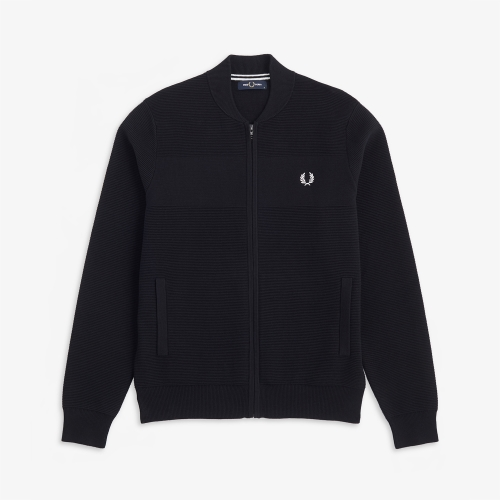 [Authentic] Textured Knitted Bomber Cardigan (102)