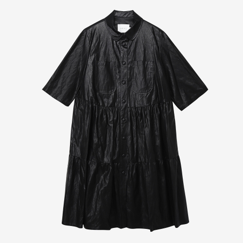 Eco LeatherTiered Shirtdress (BLK)