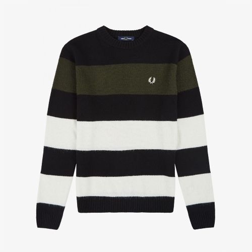 [Authentic] Bold Striped Crew Neck Knit(102)