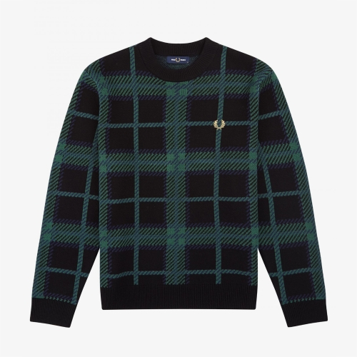 [Authentic] Tartan Crew Neck Knit(102)