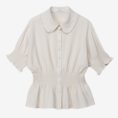 Smocked Short-Sleeved Blouse (WHT)