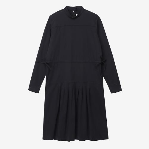템플 롱 슬리브 드레스 (BLK)