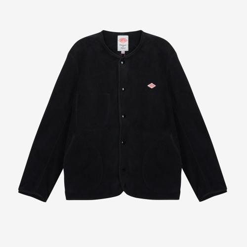 Fleece Collarless Jacket (BLK)